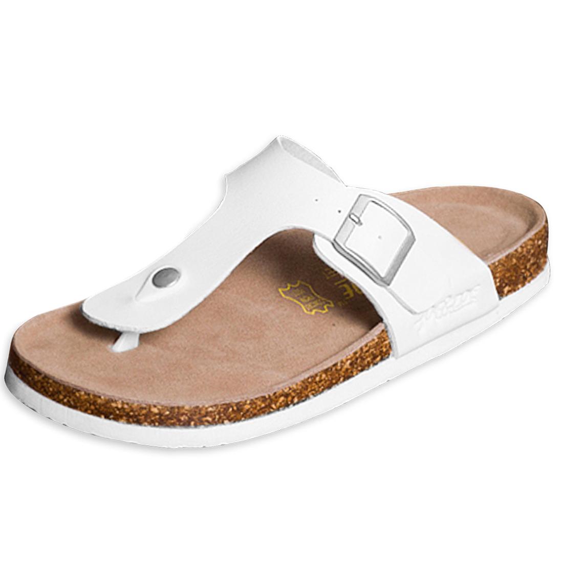 White US Size 6.5 Flexible Strap Featuring Buckle Men Sandal