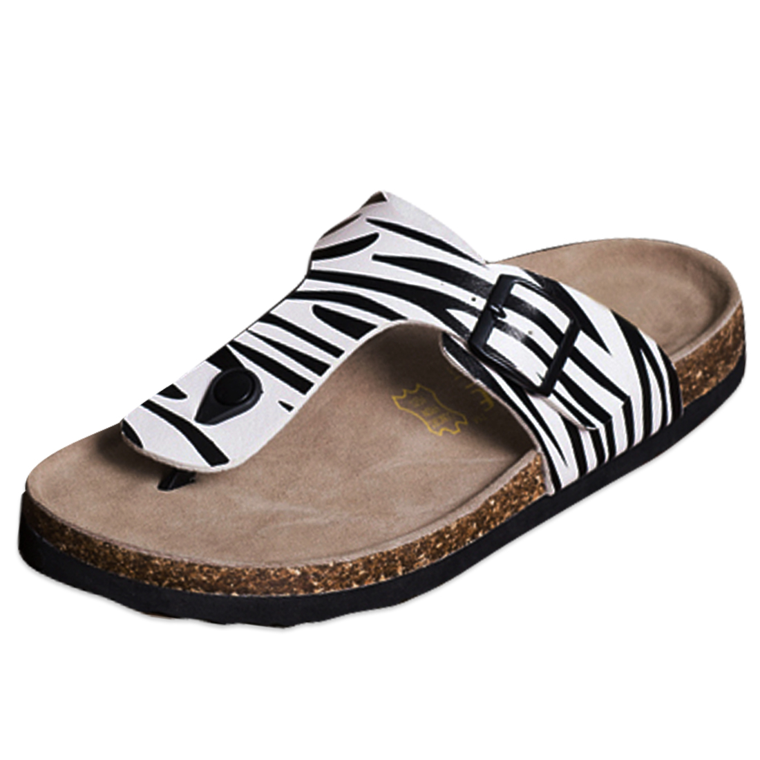 Black White US Size 6.5 Adjustable Strap Beach Style Men Sandal