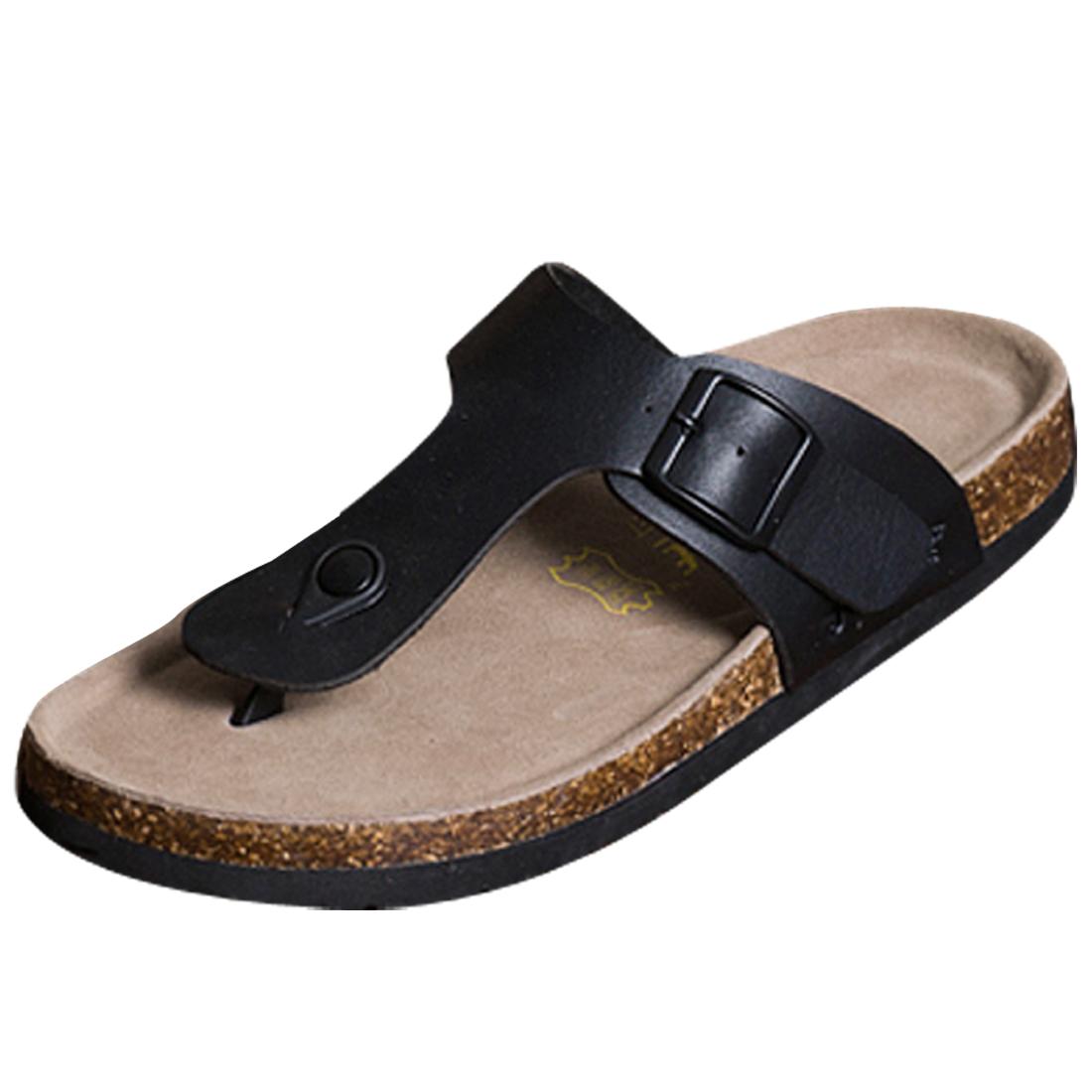Men Buckle Flip Flop Classic Strap Style Sandal 8 US Size Black