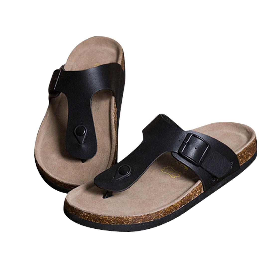 Men Black US Size 10 Adjustable Strap Waterproof Sole Leisure Sandal