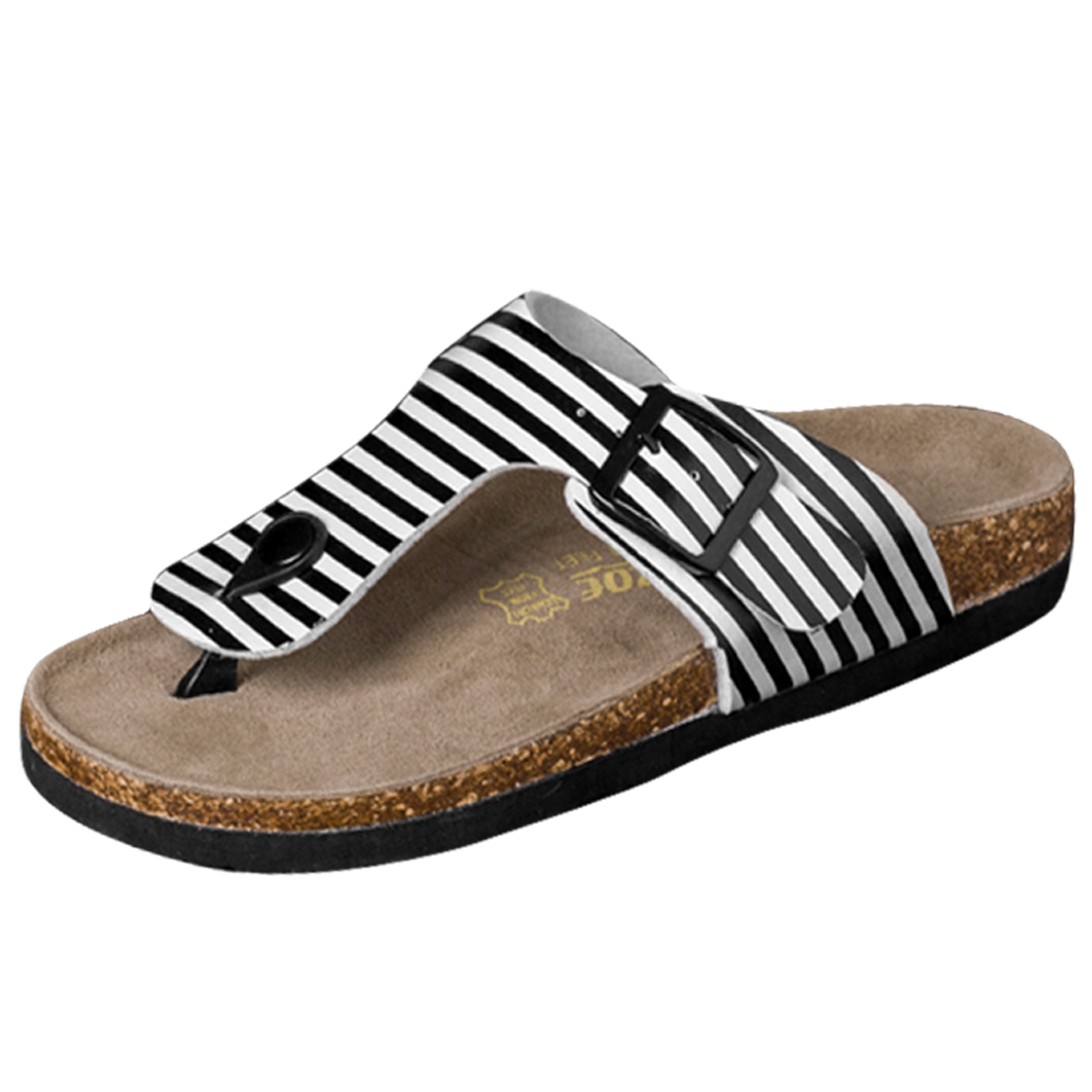 Men Adjustable Strap Stripes Print Sandal Black White US Size 10