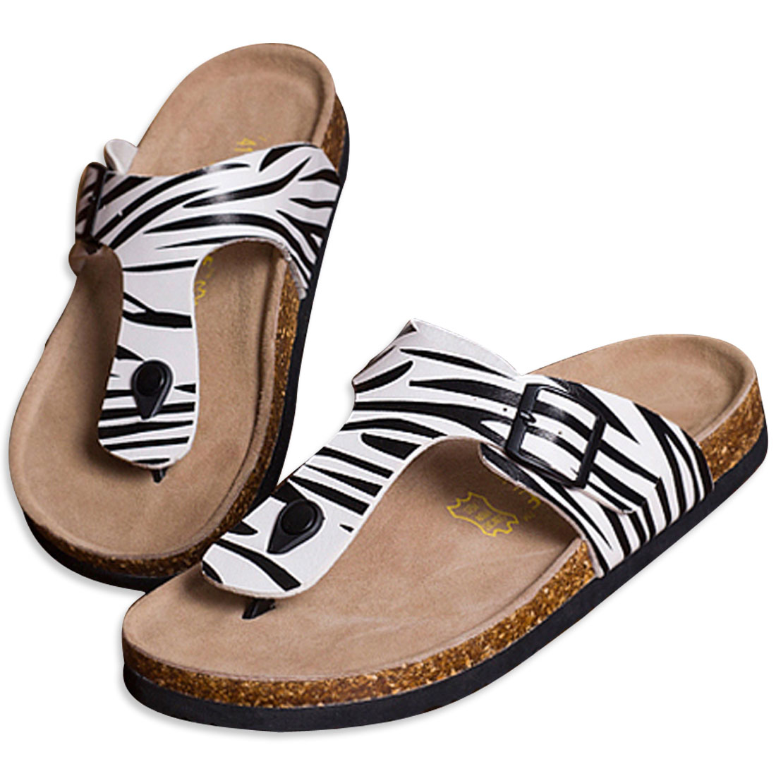 Men Completely Flexible Strap Black White 10 US Size Summer Sandal