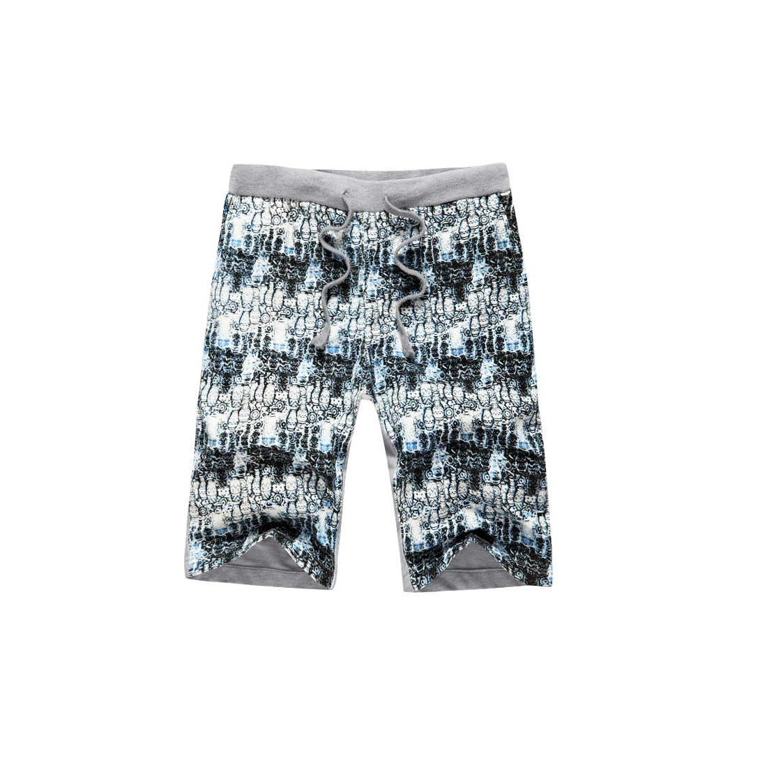 Man Drawstring Pockets Bottles Printed Shorts Light Blue W28