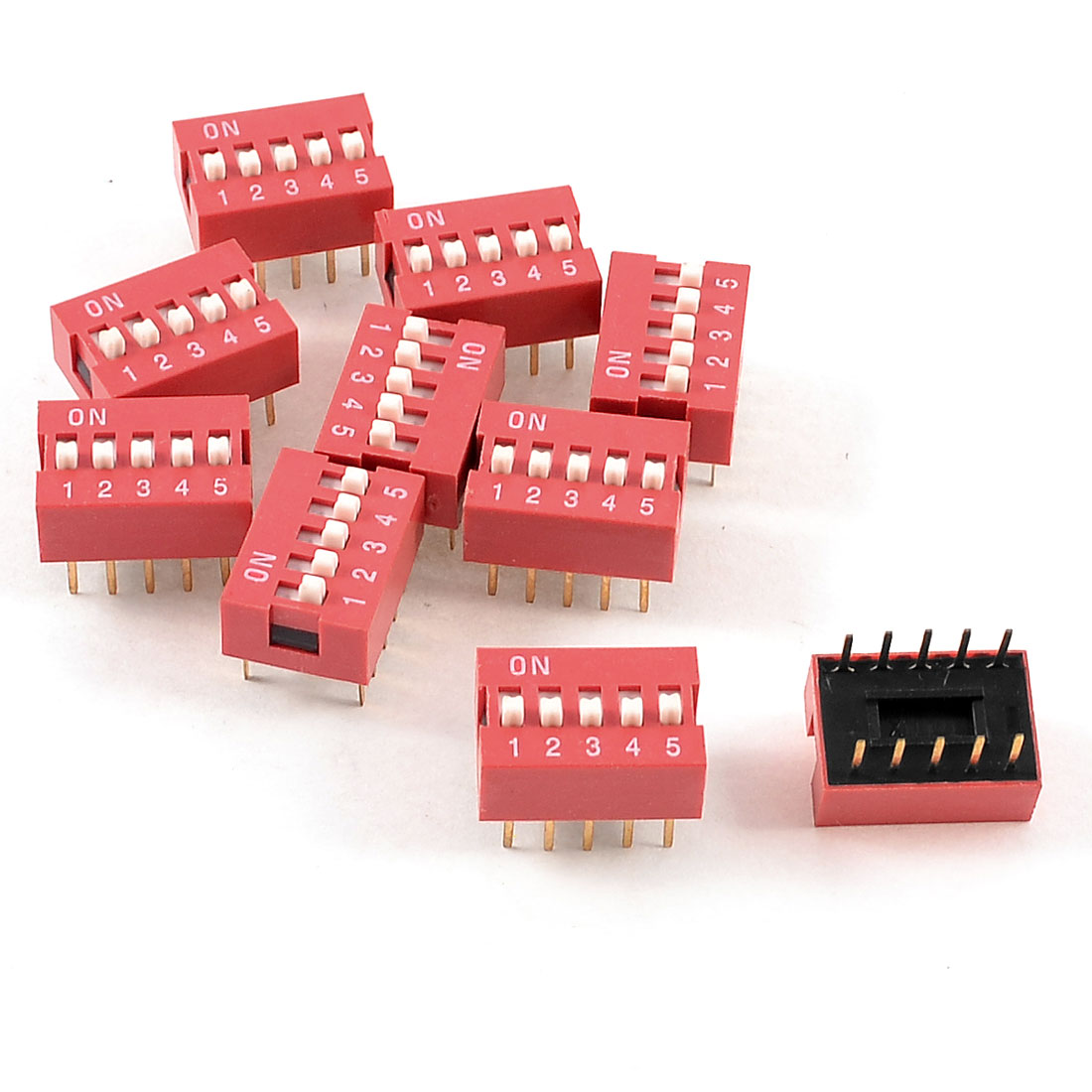 10 Pcs Red Double Row 10 Pin 5 Positions 2.54mm Pitch DIP Switches