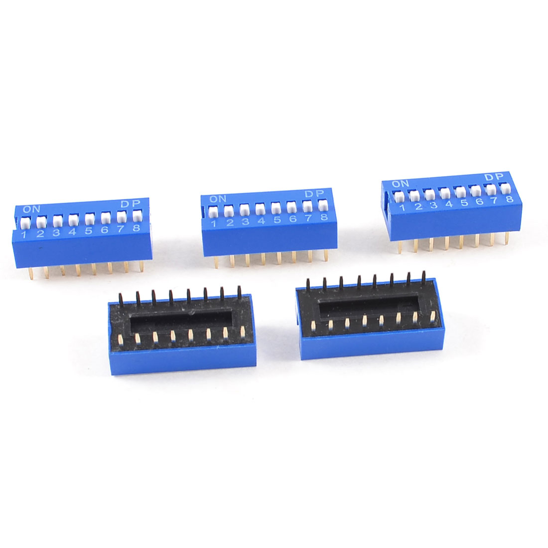 5 Pcs Blue Double Row 16 Pin 8 Positions 2.54mm Pitch DIP Switches