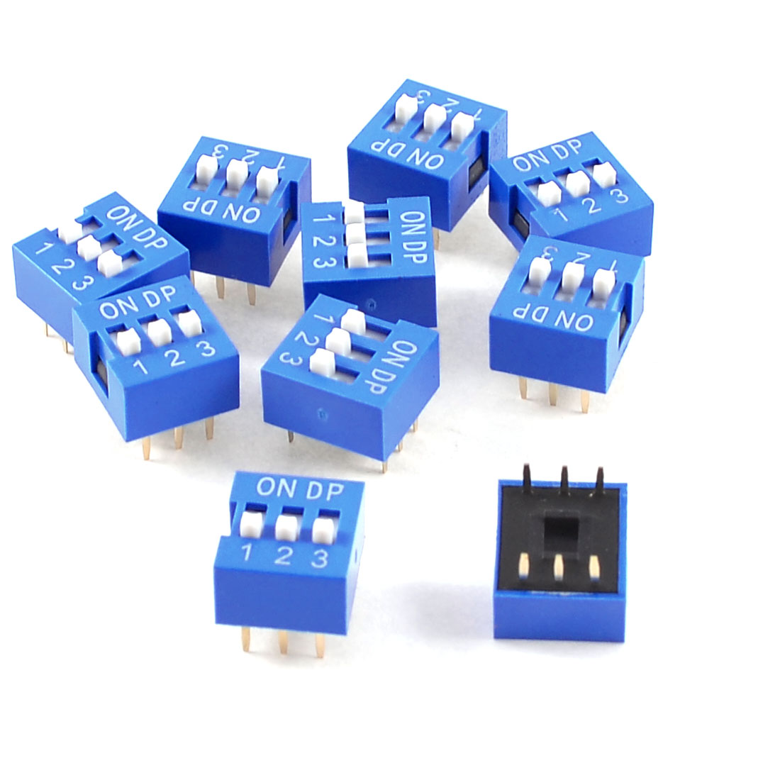 10 Pcs Blue Double Row 6 Pin 3 Positions 2.54mm Pitch DIP Switches