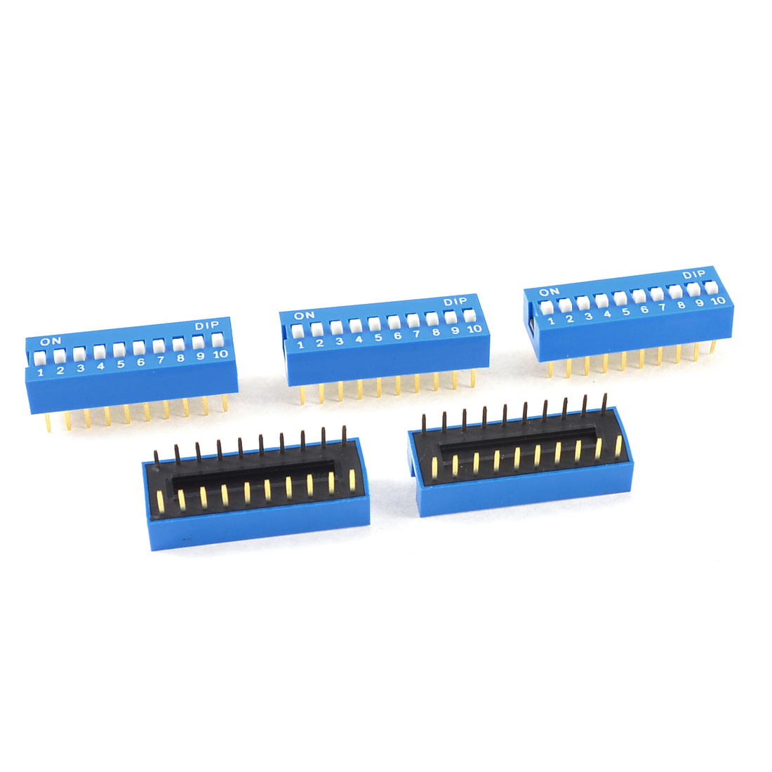 5 Pcs Blue Plastic Housing 10 Positions 2.54mm Pitch DIP Switches