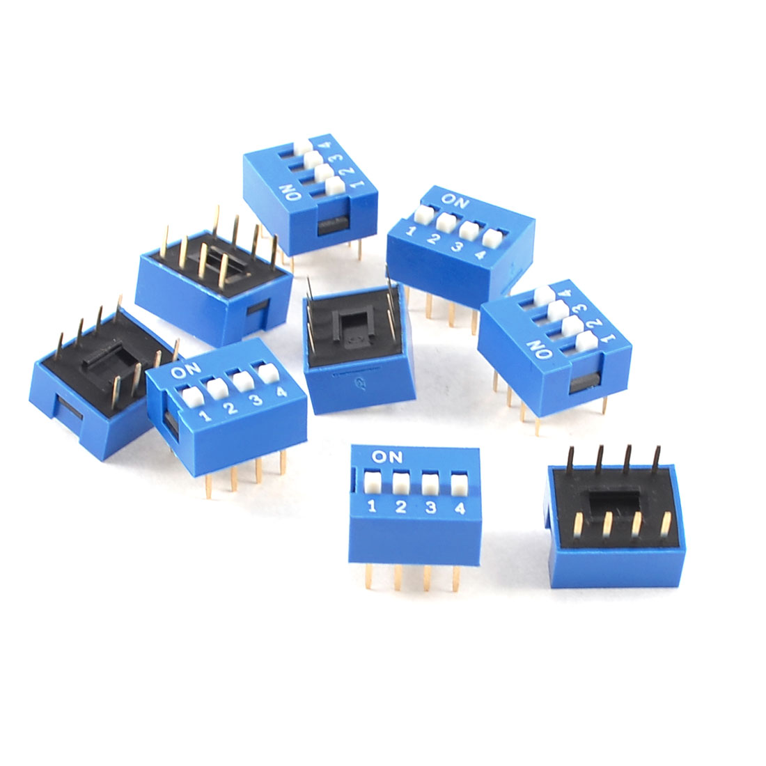 10 Pieces Blue Double Row 8 Pin 4 Positions 2.54mm Pitch DIP Switch