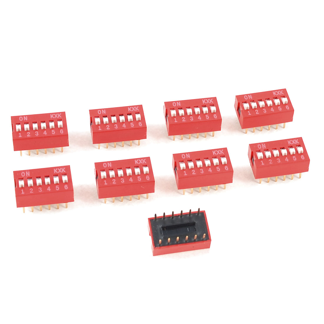 10 Pcs Red Double Row 6 Positions 2.54mm Pitch DIP Switches