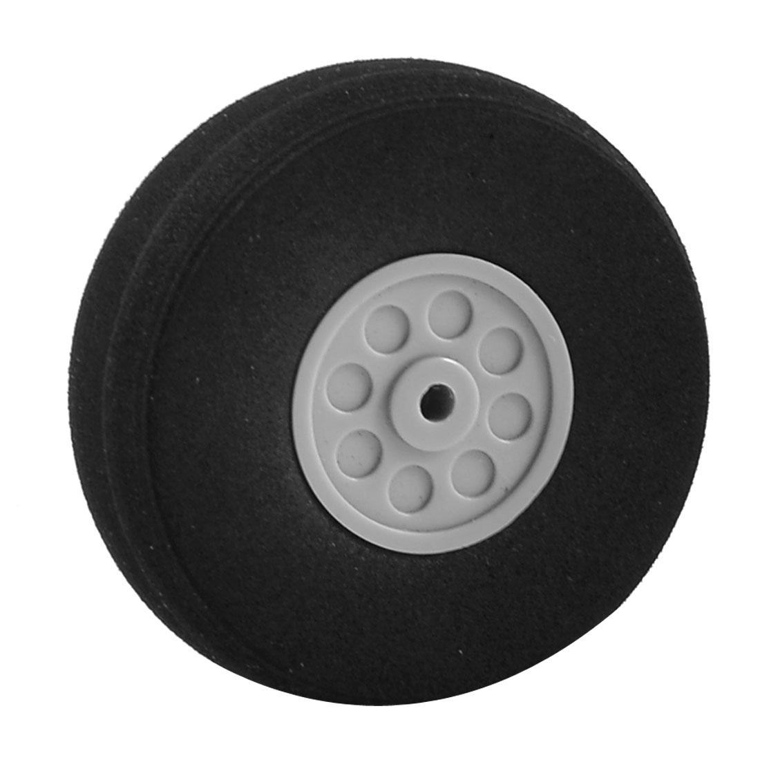 Gray Plastic Hub Black Foam Wheel 55mm Diameter for RC Aircraft Model Toy