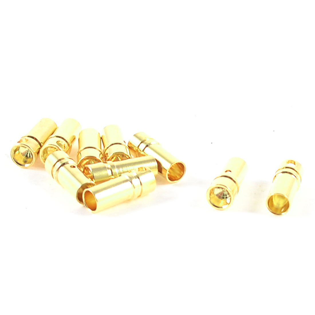 10 Pcs Gold Tone Metal RC Cone Female Connector 3.5mm