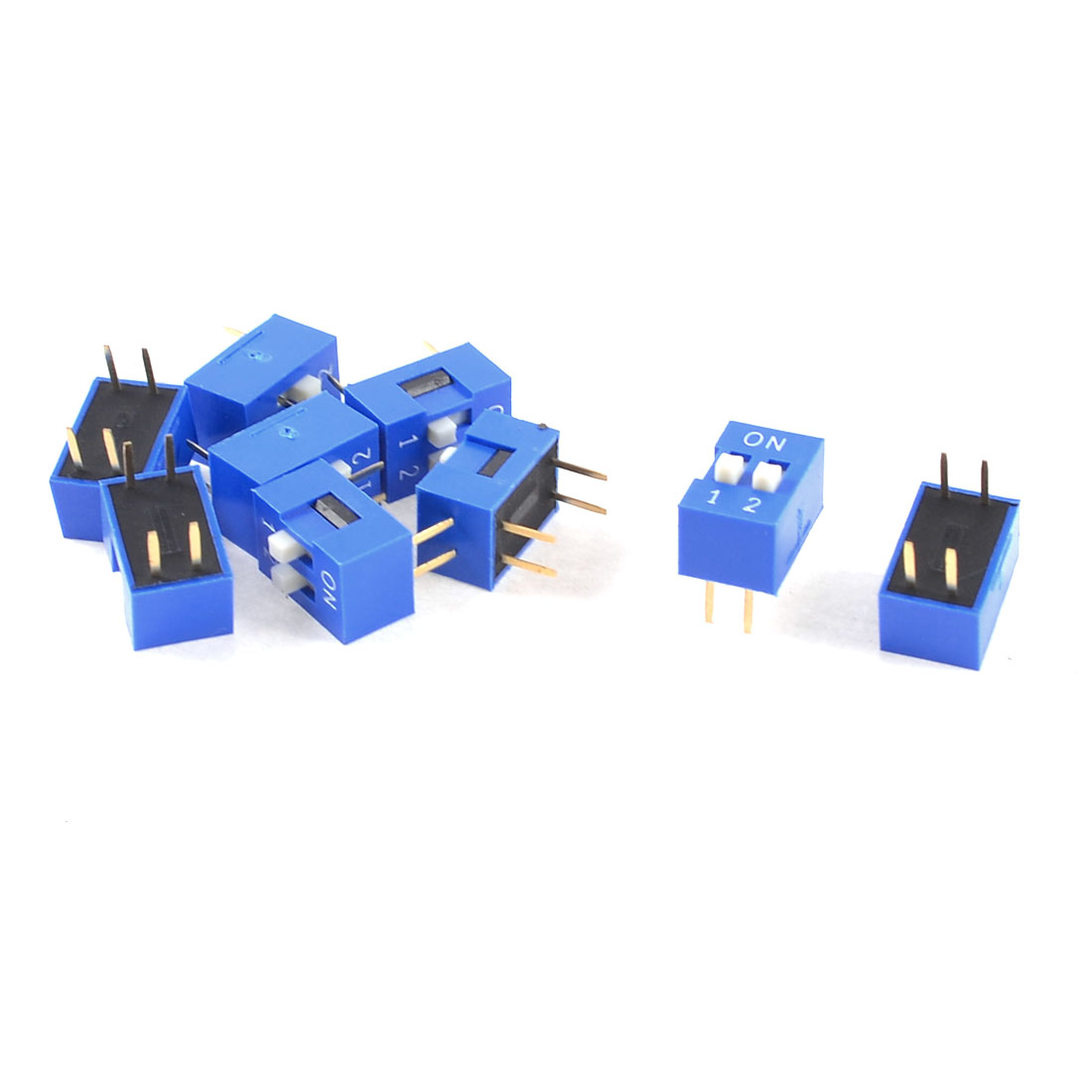 10 Pcs Blue Double Row 4 Pin 2 Positions 2.54mm Pitch DIP Switches