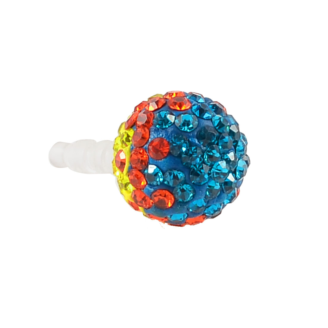 Blue Orange Yellow Crystal Head 3.5mm Ear Cap Dust Plug Stopper for Cell Phone