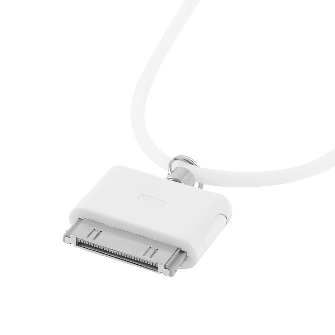 "White Decorative 30pin Connector Pendant 32.3"" Silicone Strap for iPhone 4 4G"