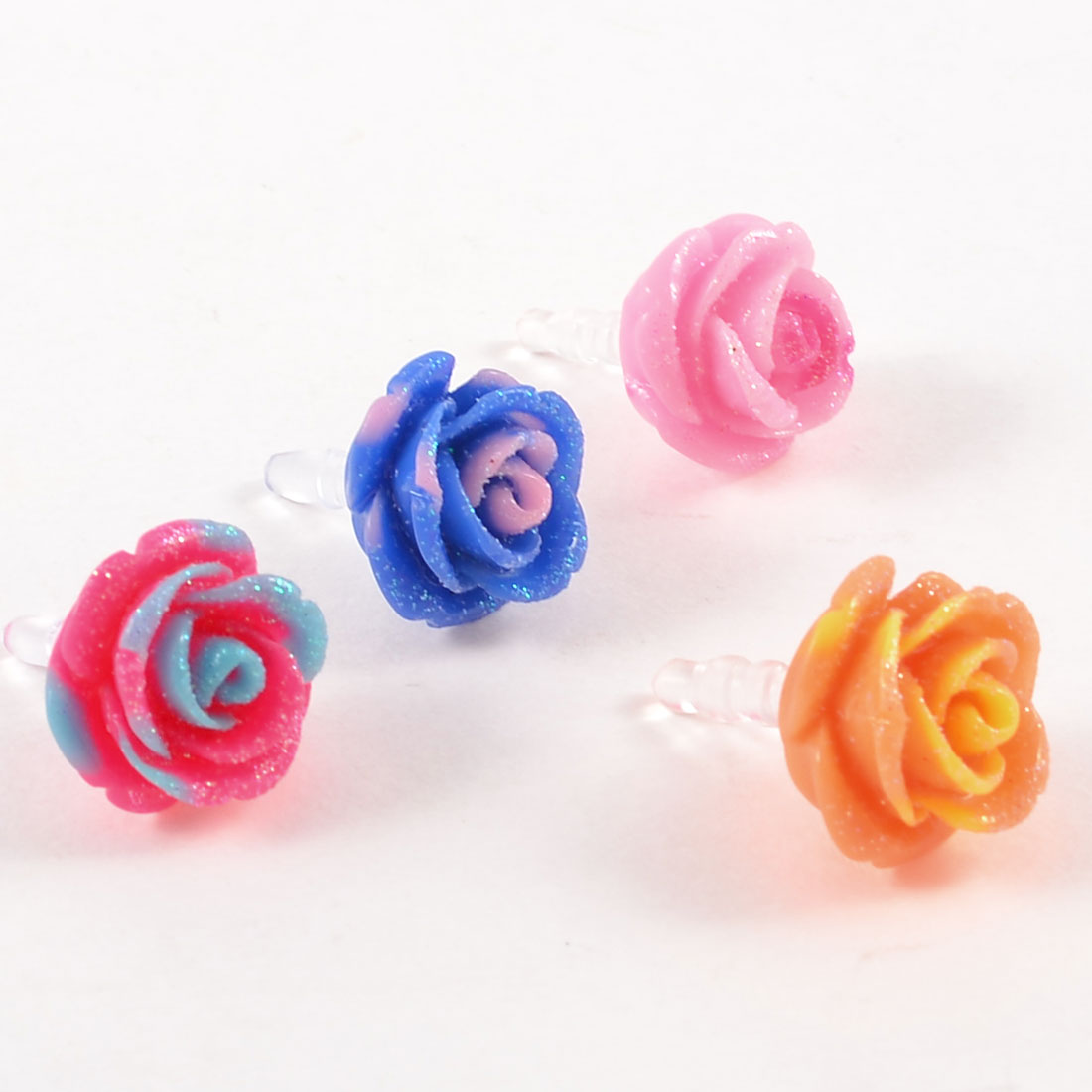 4 x Colored Flowers Shape Anti Dust 3.5mm Earphone Jack Stopper for Smart Phone