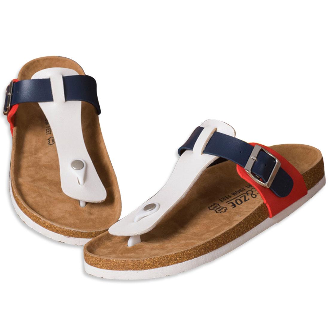 Men Classic Strap Style Color Block Sandal 6.5 US Size White Blue