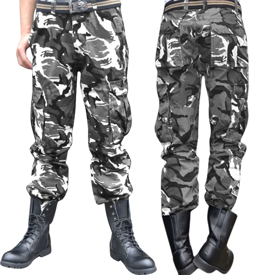 Men Zip Fly Side Pockets Camouflage Prints Black White Gray Cargo Pants W36