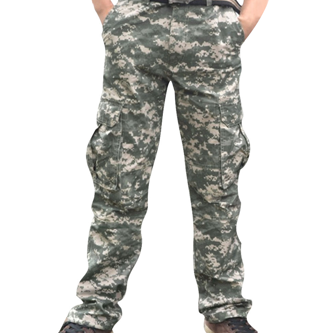 Men Olive Green Slant Pockets Zip Fly Casual Pants Camouflage Prints W38