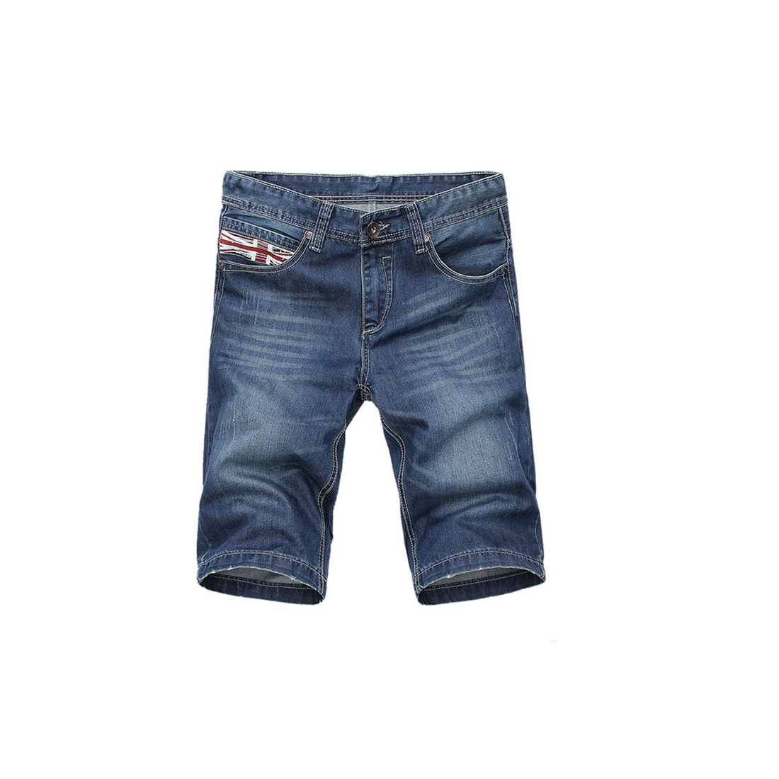 Men Hip Pockets Straight Leg Zip Fly Jean Style Denim Blue Shorts W34