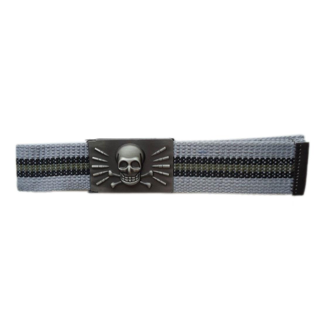 Men Skull Embellished Metal Clip Buckle Waistband Belt Light Gray