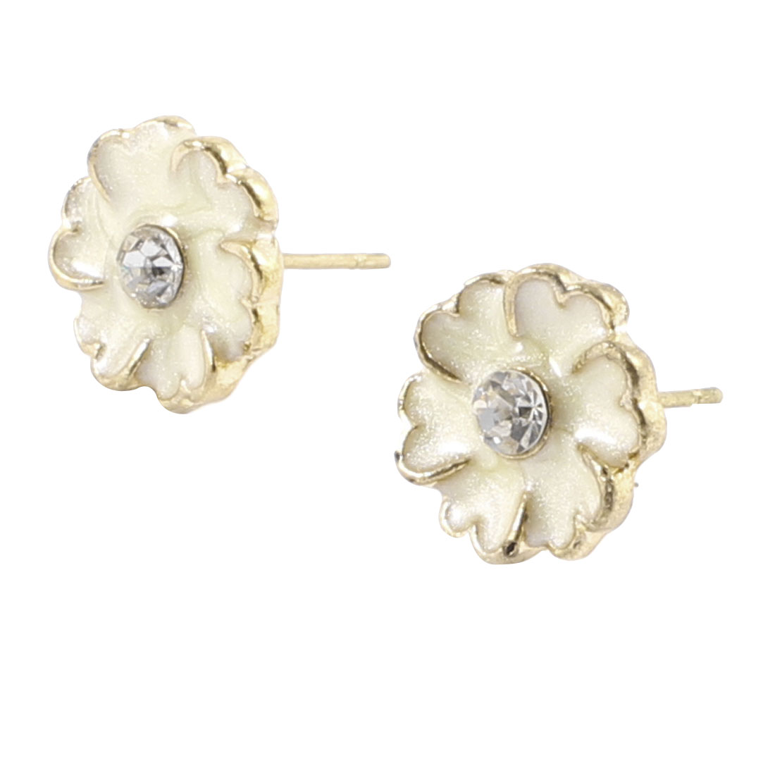 Women Rhinestone White Flower Pierced Ear Stud Earrings Eardrops Pair