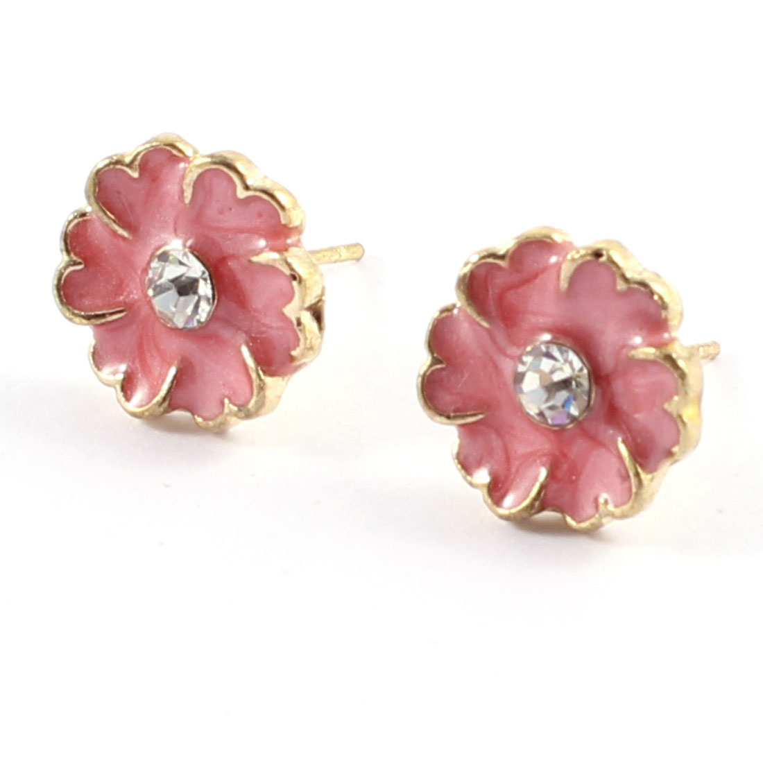 Women Rhinestone Pink Flower Pierced Ear Stud Earrings Eardrops Pair