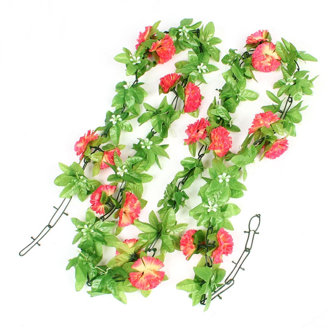 5.9Ft Length Green Plastic Leaf Hot Pink Carnation Flower Vine