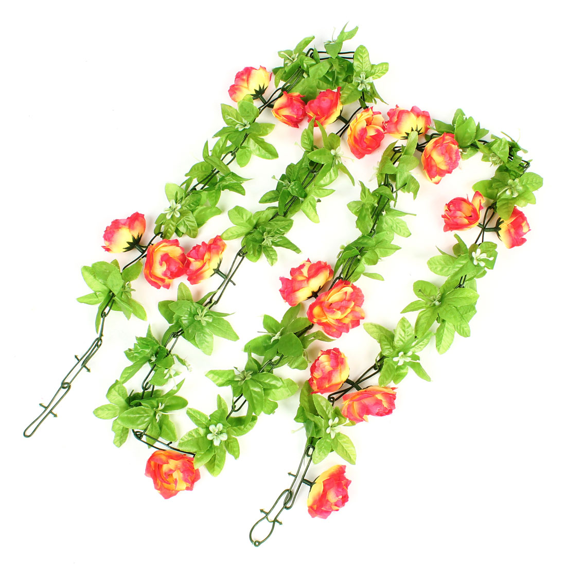 2.0M Height Green Leaf Fabric Yellow Red Flower Hanging Bouquet Vine