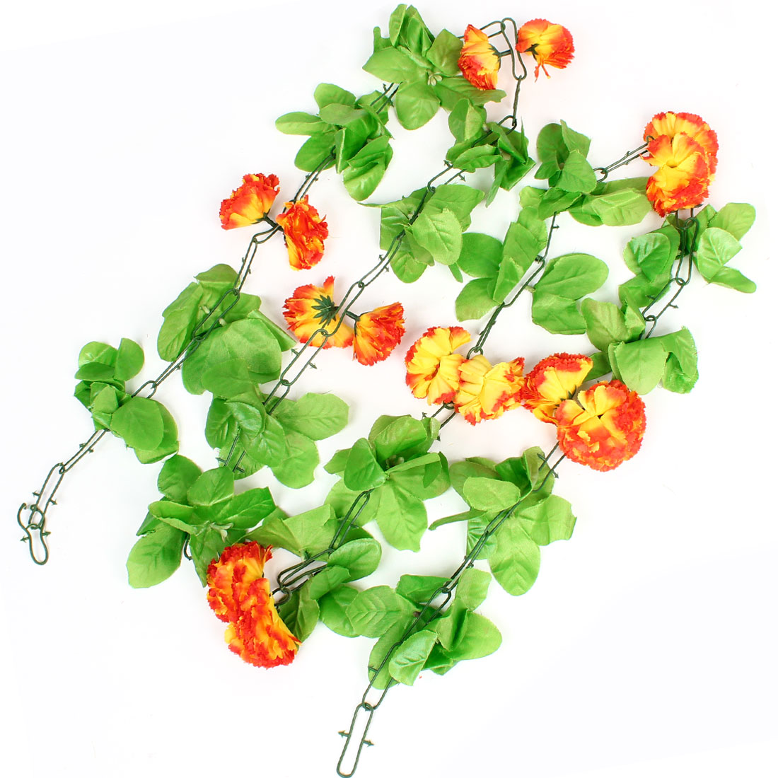 6.6Ft Green Leaf Fabric Yellow Red Hanging Flower Vine