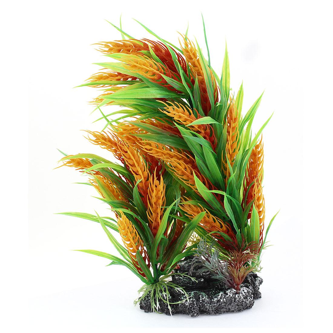 "Green Yellow Red Emulational Underwater Plant Decor 10.6"" Height for Aquarium"