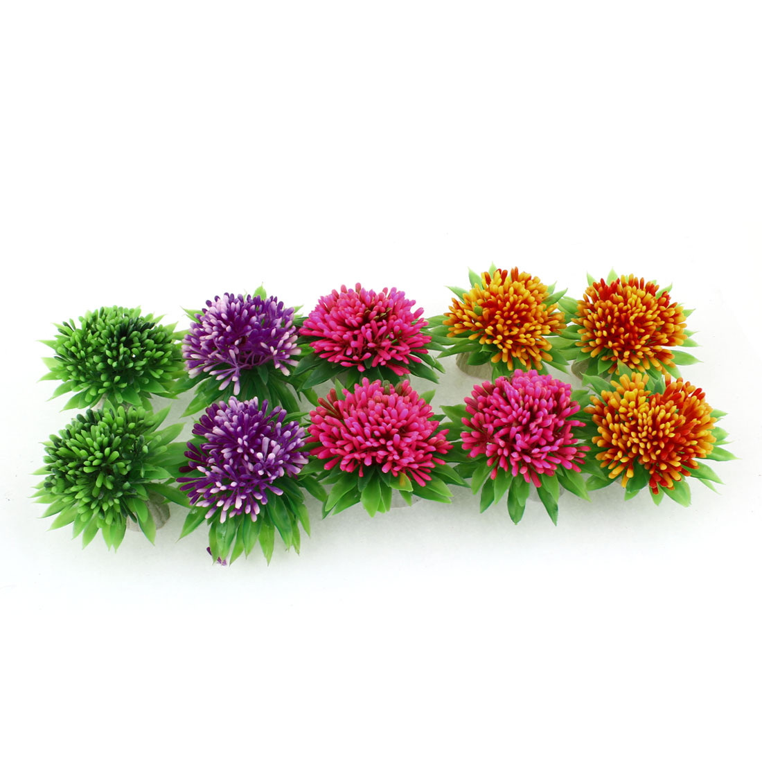 "10 Pcs Underwater Sunflower Plastic Grass Plant 2.8"" Height Ornament"