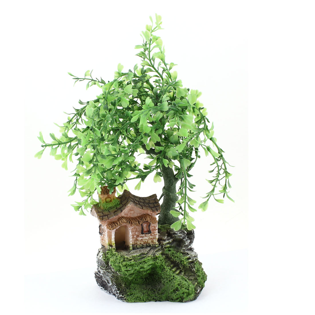 "9.8"" Height Simulation Green Tree Tan House Aquatic Plant Decor for Fish Tank"