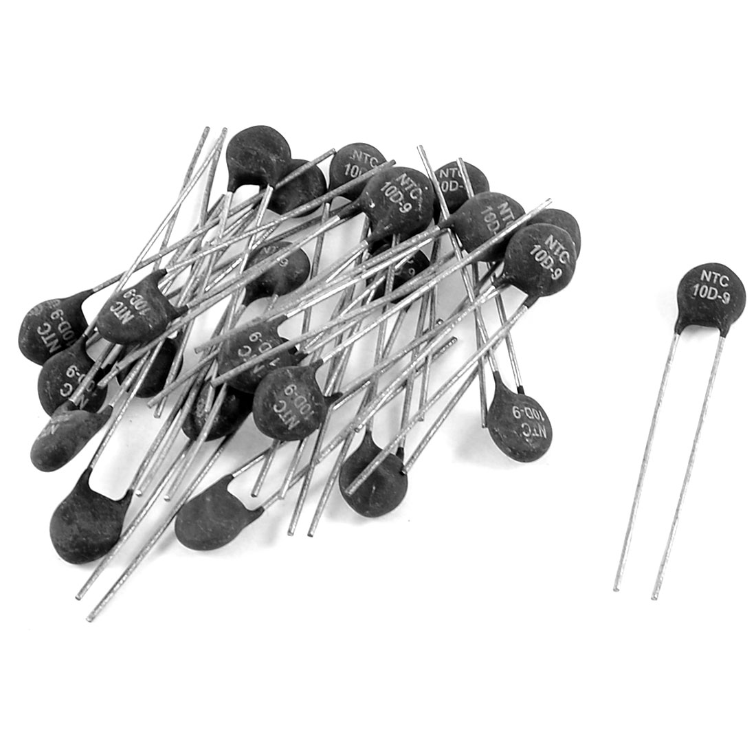 "4.5mm Pitch NTC Thermistors 1.8"" Long Black Silver Tone 9 Ohm 25 Pcs"