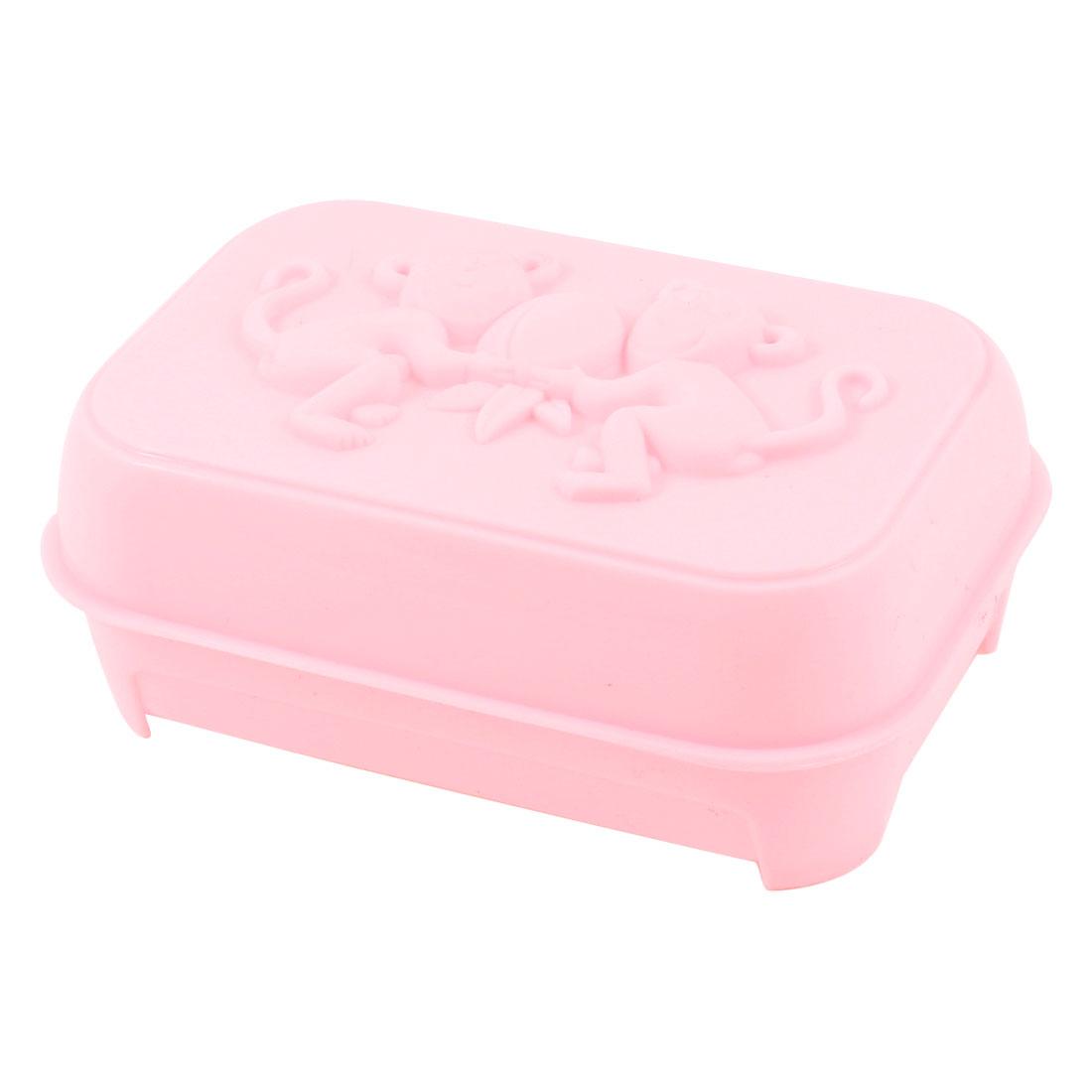 Embossed Monkey Design Rectangular Soap Dish Case Box Light Pink
