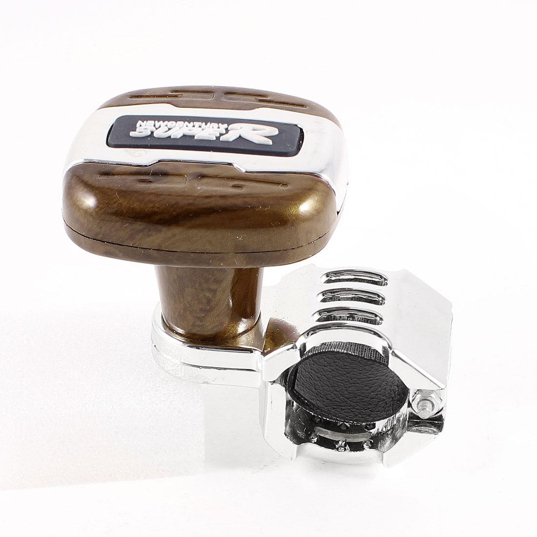 English Word Detail Steering Wheel Spinner Knob Silver Tone Brown