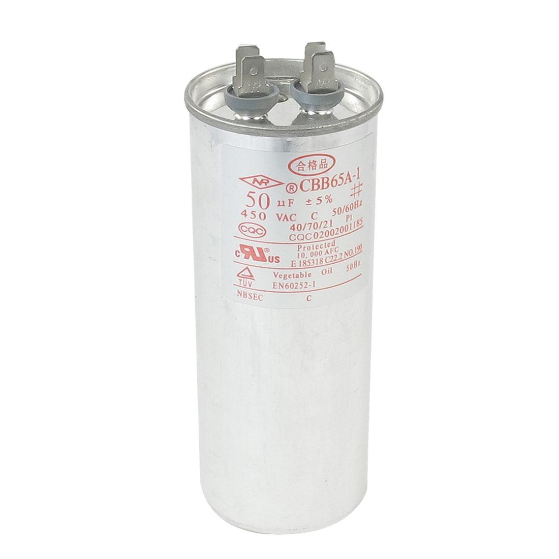 AC 450V 50uF 50/60Hz Metallized Polypropylene Film Motor Capacitor CBB65A-1