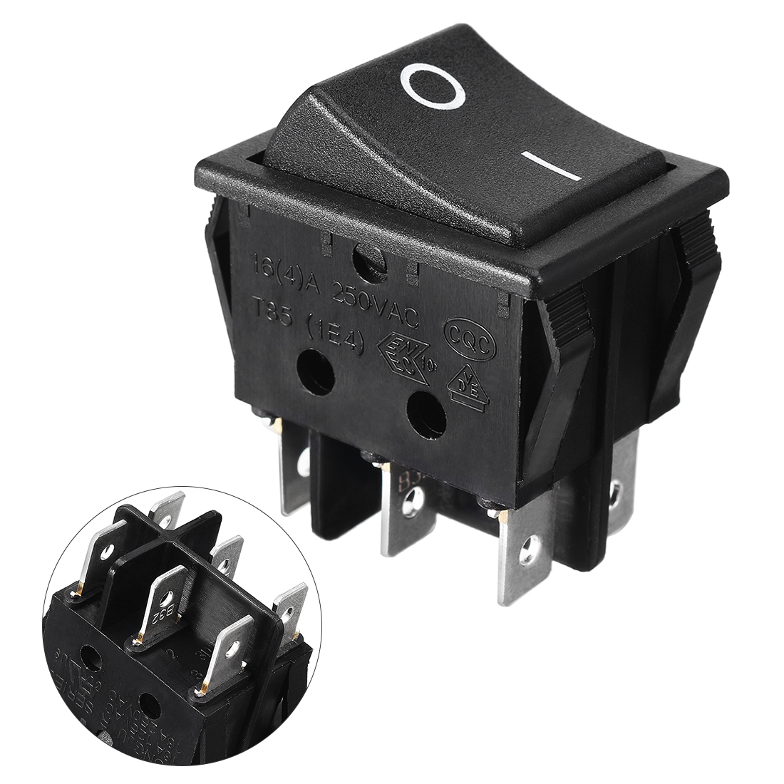 AC 16A 250V 20A 125V 6 Terminals DPDT On On Rocker Switch Black