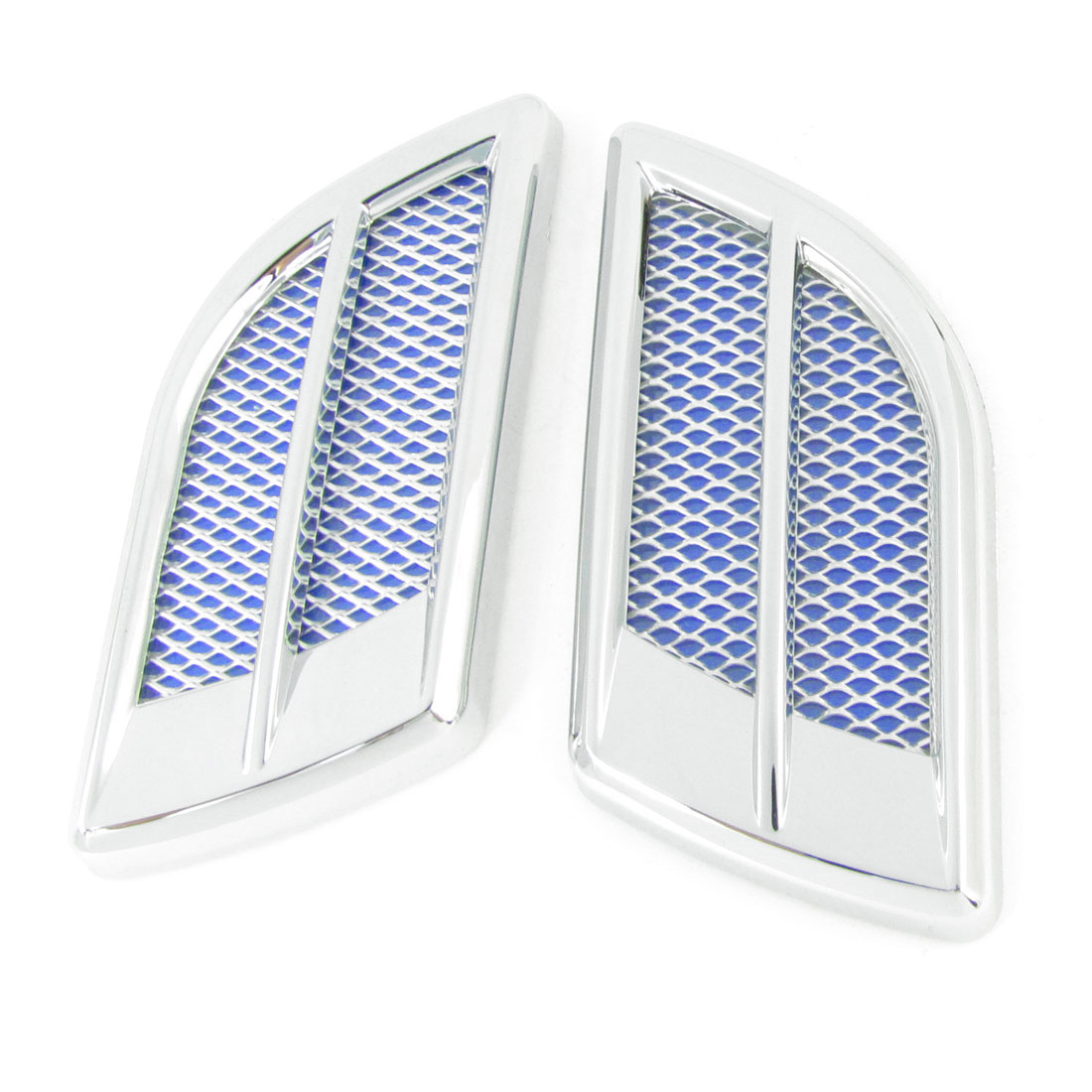 2 Pcs Auto Car Silver Tone Blue Air Vent Decorative 3D Sticker