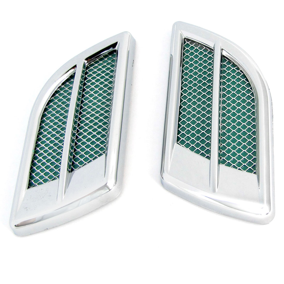Vehicle Car Silver Tone Green Side Air Vent 3D Plastic Sticker x 2