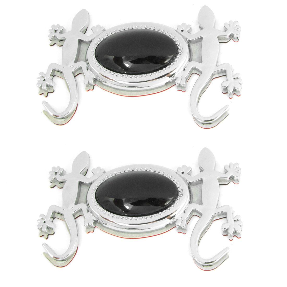 2 Pcs Auto Car Silver Tone Black Gecko Designed Bumper Decorative 3D Sticker