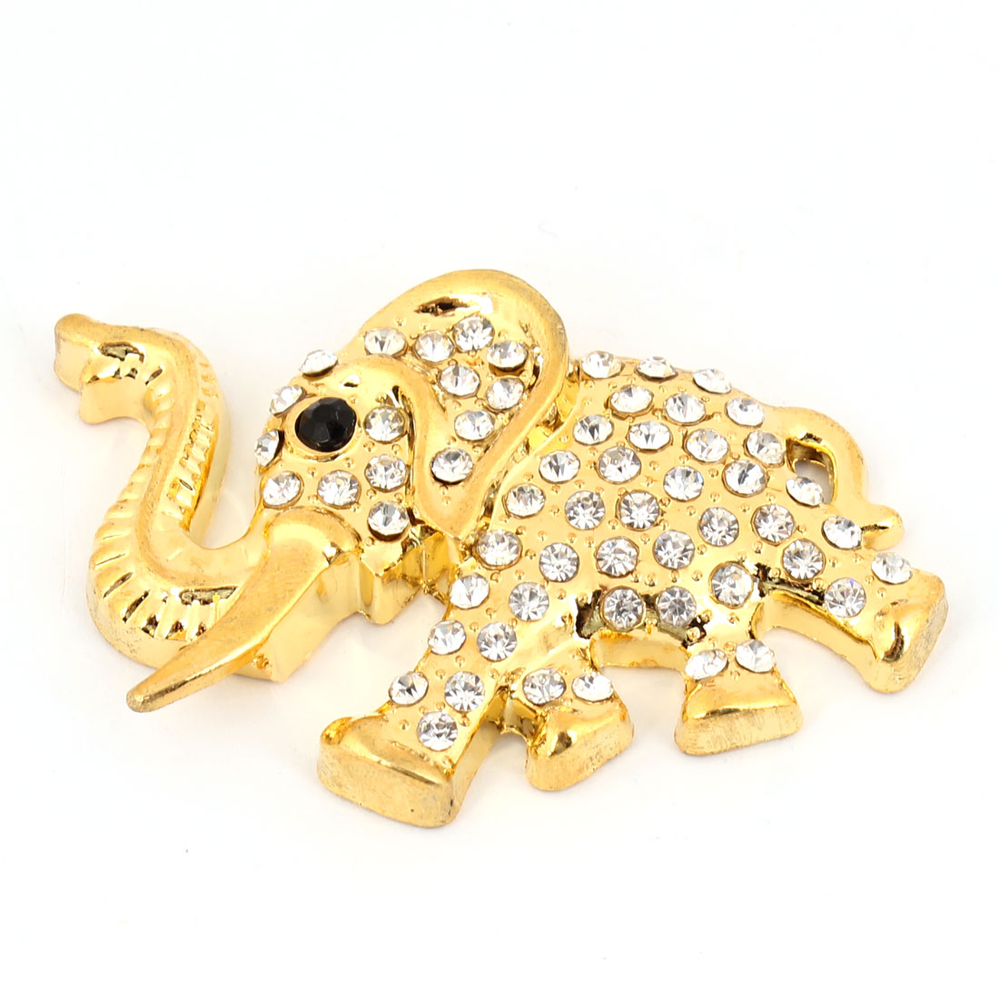 Gold Tone Elephant Shape Metal Rhinestones 3D Detail Sticker for Car