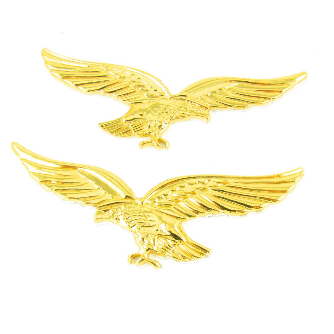 2pc Gold Tone Eagle Shaped Metal Decorative Sticker for Auto Car