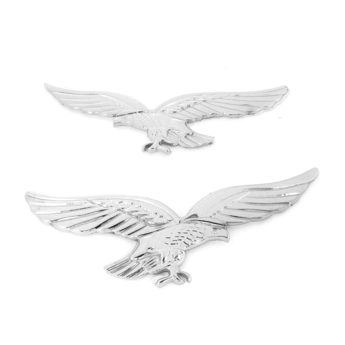 2pc Silver Tone Eagle Shaped Plastic Decorative Sticker for Auto Car