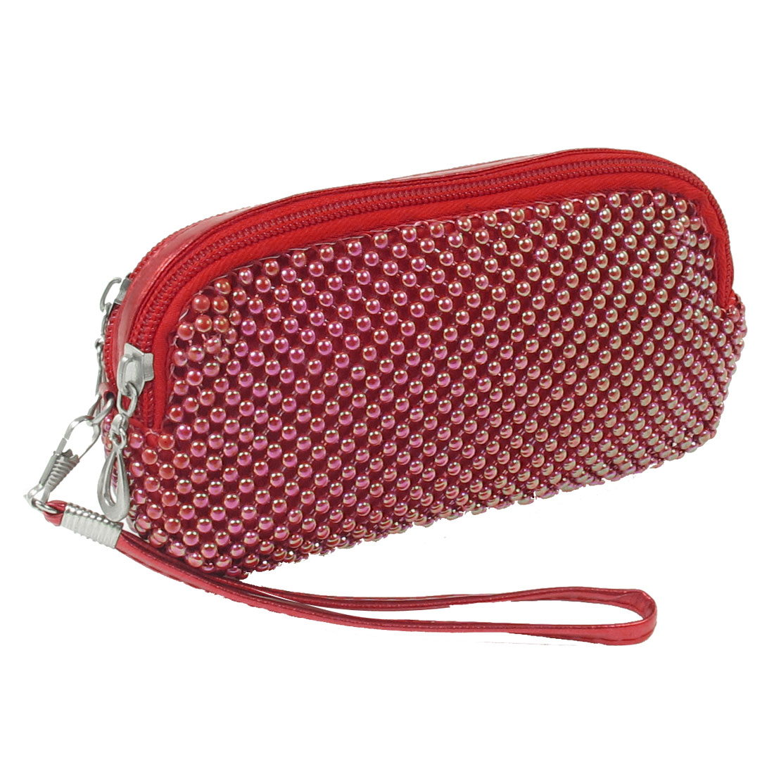 Dark Red Rectangle Shape Plastic Beads Decor 2 Compartments Dual Zipper Purse
