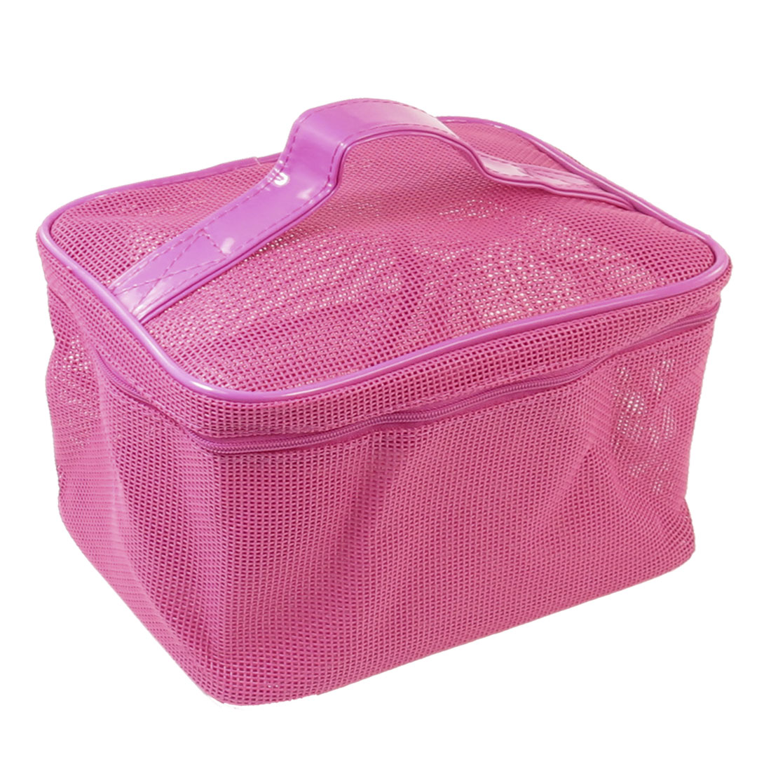 Zipper Closure Fuchsia Plastic Makeup Cosmetic Bag Handbag for Ladies Woman