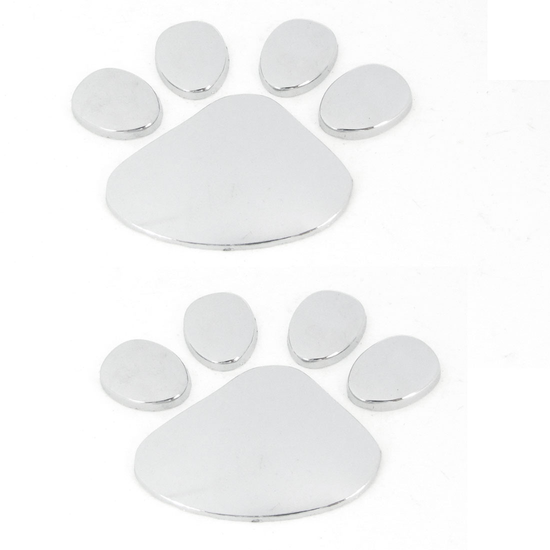 2 Pcs Silver Tone Dog Footprint Shape Metal Sticker for Auto Car