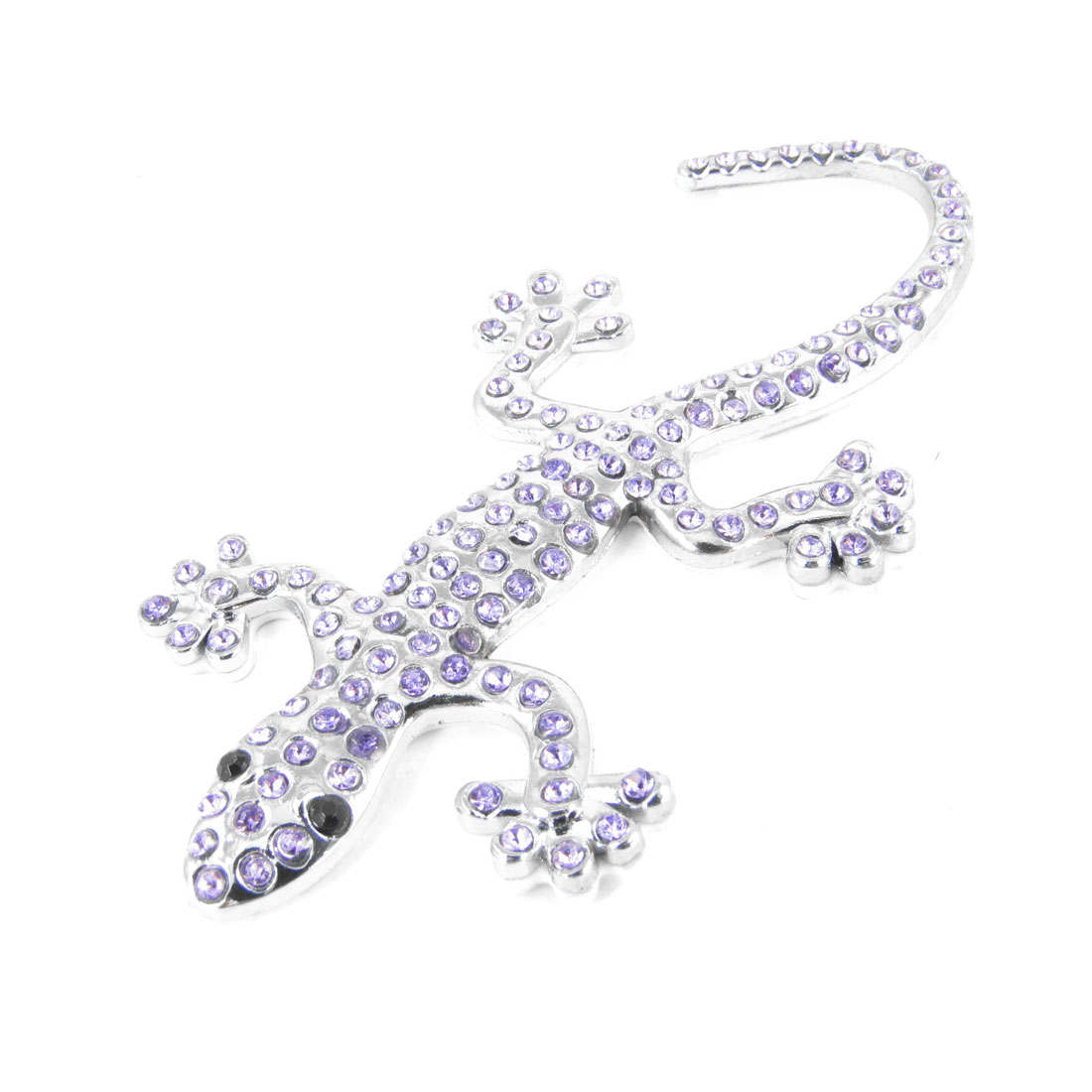 Silver Tone Gecko Shape Metal Light Purple Rhinestones Detail Sticker for Car