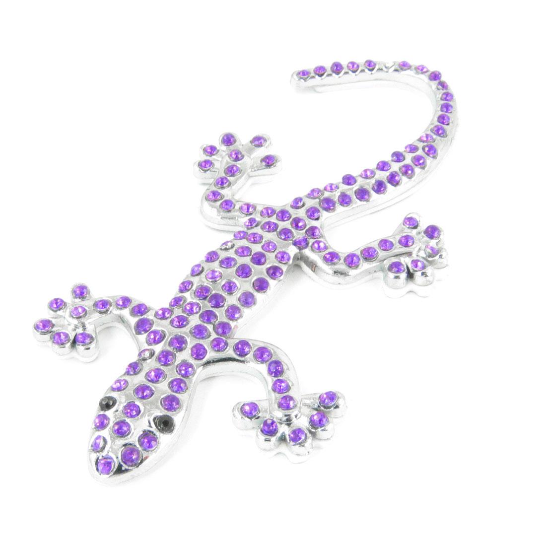 Silver Tone Gecko Shape Metal Purple Rhinestones Detail Sticker for Car