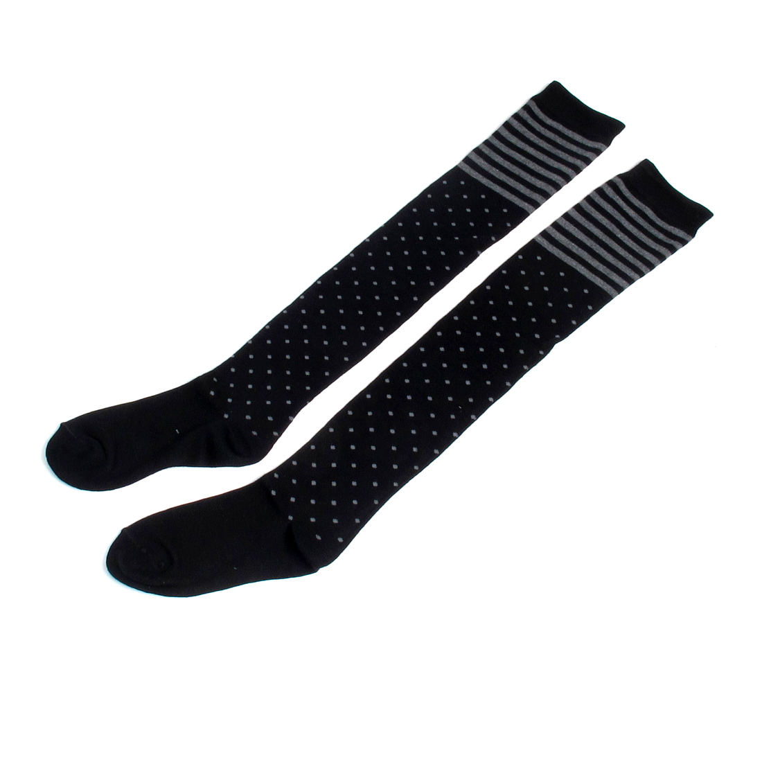 Lady Stripes Elastic Acrylic Leg Warmers Long Stockings Black Gray Pair