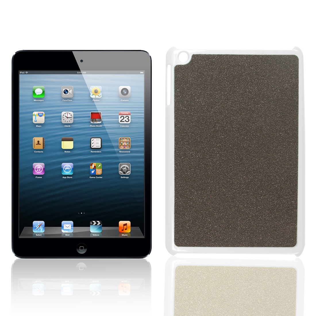 Glittery Sparkling Dark Gray Plastic Back Case Cover for Apple iPad Mini
